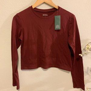 NWT Wild Fable Maroon Long Sleeve Crop Tshirt S